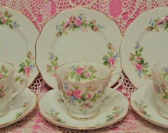 3 Lovely Vintage Royal Albert MOSS ROSE Cups, Saucers & Plates.