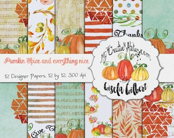 Thanksgiving Digital paper Glitter and Waterlcolor pack . Pumkin Spice and everything nice