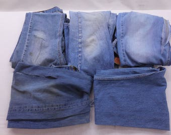 Levi's Scrap Denim 5 Pairs Of Medium Wash 100% Cotton Jeans Perfect For Craft And Sewing Projects