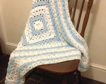 Super Soft Crochet Baby Blanket Blue and White