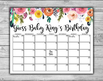 Custom - Floral - Baby Shower - Due Date Calendar - Baby Shower Printable - Shabby Chic - Baby Shower Calendar - 075