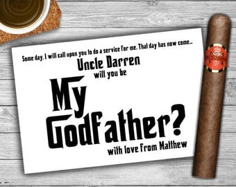 Will You Be My Godfather Card - Printable - Personalized Digital File - Godparent - Be My Godfather Request Card - 0022