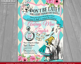Alice in Wonderland Baby Shower Invitation - Alice in Wonderland Baby shower tea party Invite - Mad Hatter Baby Shower Party invitation