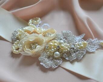 Ivory and cream hand embellished lace bridal sash bridal applique wedding belt