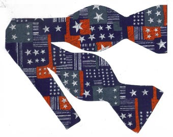 American Stars Self-tie Bow Tie | American Flag ties | Patriotic bow ties | 4th of July | bow ties for men | Stars on Distressed Red & Blue