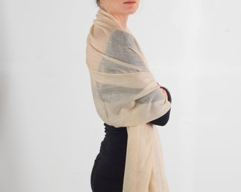 100% Pure Cashmere Wrap / Bridal Shawl / Bridal Cover up Stole - Handcrafted Himalayan Cashmere. Featherlight and Soft