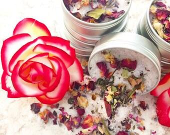 Pretty in pink bath salt soak : Organic roses • lavender • bath salt pink Himalayan salt. 2oz aluminum tins