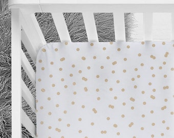Gold metallic polka dot baby girl bedding, gold fitted crib sheet, scattered gold dots, baby girl nursery, gold bedding, gold dots, girl bed