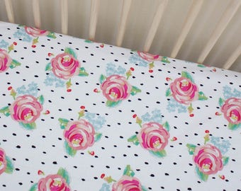 Roses Crib sheet, baby girl crib sheet, baby girl bedding, floral crib sheet, floral bedding, floral baby, floral, crib bedding