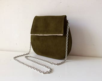 clutch leather bag, clutch suede handbag, green handbag made in italy with steel shoulder and internal satin