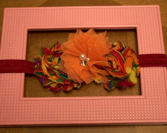Orange and Burgandy headband