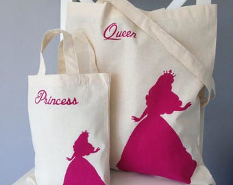 Queen & Princess set ofreusable cotton tote bags. Matching mummy/mother daughter bags. Princess Queen gift. Mother daughter gift set