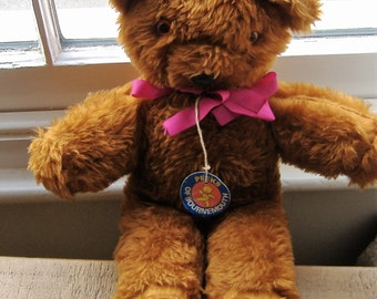 1970S/80S VINTAGE TEDDY BEAR still with original lable and ribbon