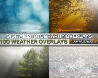 100 WEATHER OVERLAYS : 25 Snow Overlays - 25 Rain Overlays - 25 Fog Overlays - 25 Sun Flare Overlays, Digital Background, Digital Backdrop