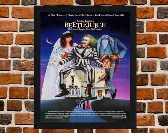 Framed Beetlejuice Tim Burton Movie / Film Poster A3 Size Mounted In Black Or White Frame
