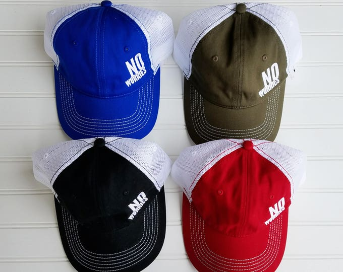 Featured listing image: No Worries Hat, Black, Royal Blue, Red, Army Green, No worries, black hat, red hat, green hat, army hat, blue hat, royal hat, positive hat