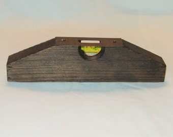 Antique Correct Level Small Wooden Level with Brass Plate