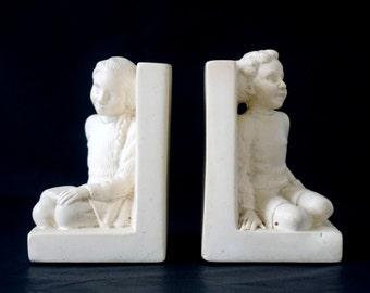 Vintage Children's Bookends - 1960's Ceramic Boy & Girl Figures - Vintage Bookends - Childrens Bookends
