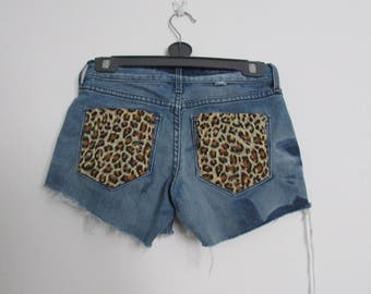 Leopard Print Pocket Levi Denim Cut Off Jean Shorts