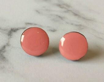 Block colour stud earrings in Bubblegum Pink