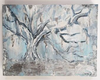 Silver Oak Tree Painting