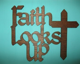 Solid Wood Faith Sign, Wall Art, Scroll Saw Wall Hanging, Wood Scroll Saw Art, Home Decor