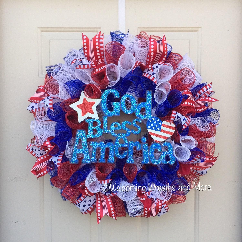 Patriotic Mesh Wreath Memorial Day Wreath July 4th Wreath