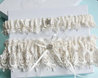 Wedding lace garter set,  Wedding garter set,  Garters