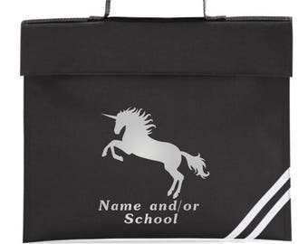 UNICORN BOOKBAG SCHOOL Personalised with Name and /or School Primary Pre-School QD456