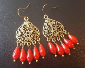 Earrings coral earrings coral bronze vintage boho earrings earring chandelier