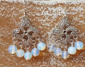 Opal earrings Opalite gemstone earrings 925 Silver Opalite earrings 925 Silver ear hooks boho jewelry Gothic gem