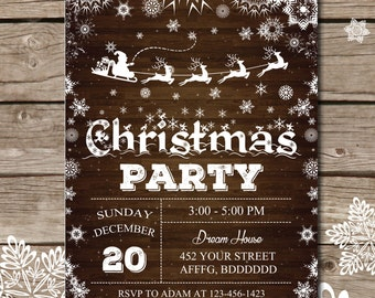 Christmas party invitation, Xmas party, Christmas tree invitation, xmas invitation, Chalkboard christmas invitation  # 123