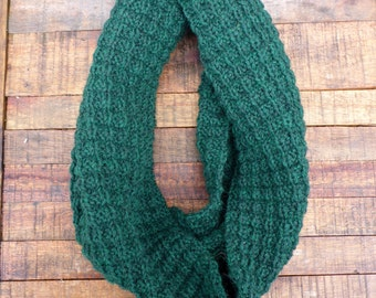 Knit Wool Circle Scarf - Thermal Texture in Dark Green