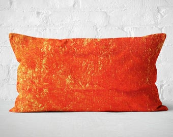 Orange Pillow Cover, Velvet Lumbar Pillow, Orange Velvet Cushion Cover,  Couch Pillow