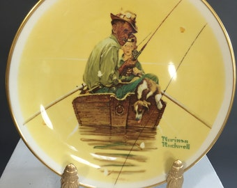 Vintage Norman Rockwell Four Seasons Plate, Summer-Fish Finders by Gorham