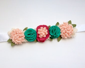 Felt flower crown with green leaves headband - pink, peony, teal and cream with green leaves