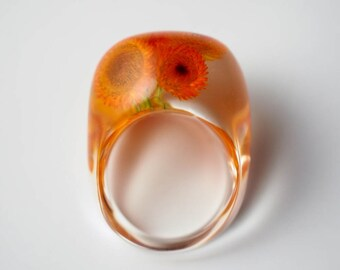 Sunflowers in Clear Resin; Resin Ring, Resin Jewelry