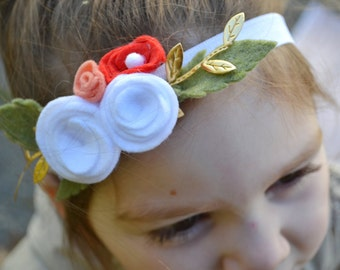 Handmade Felt Flower Headband Baby / Toddler / Girl