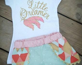 Coachella shorts with matching shirt, dreamer shirt, feather shirt, dream catcher shirt