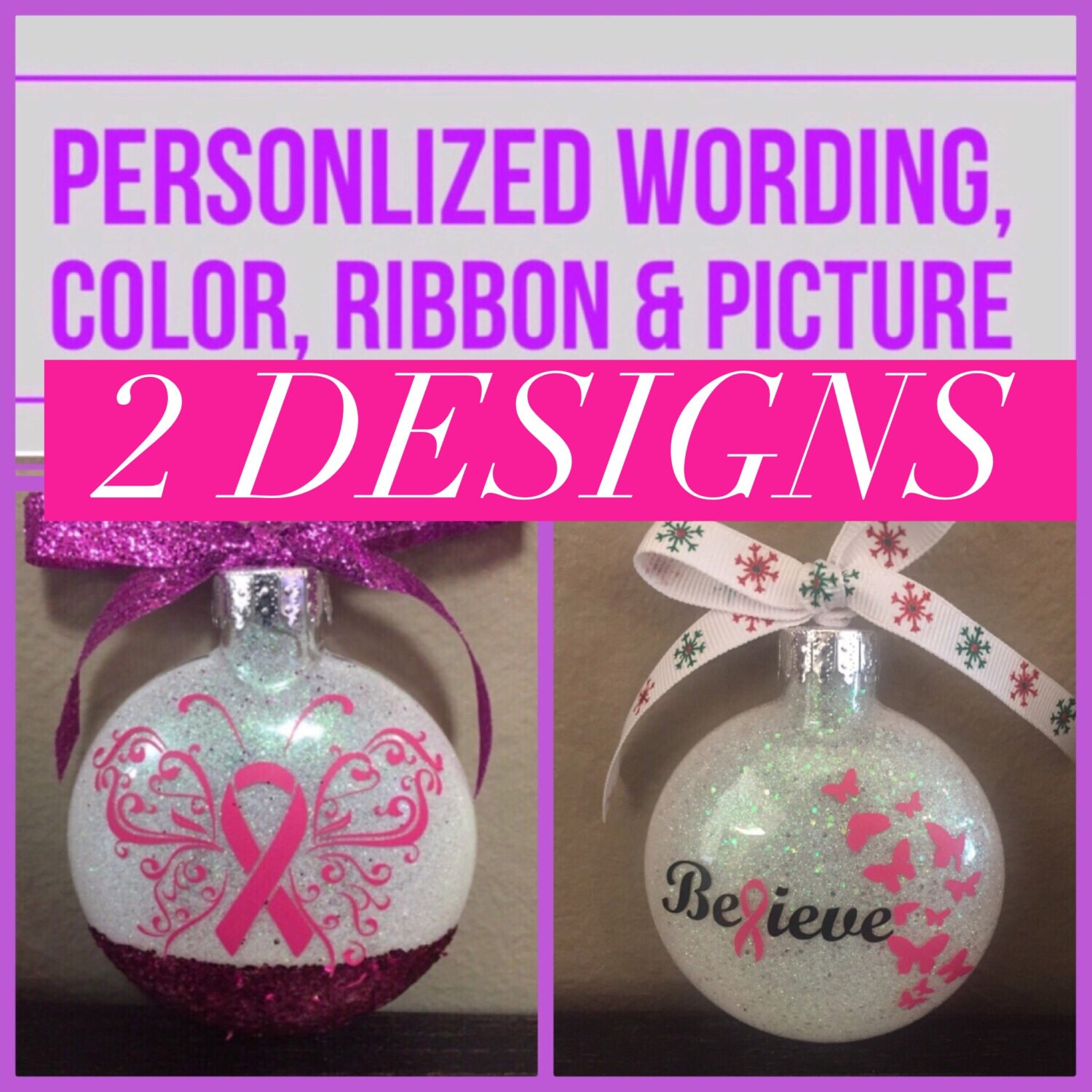 Breast cancer ornament - Breast Cancer Ornament Breast Cancer Awareness Ornament Christmas Ornament Santa