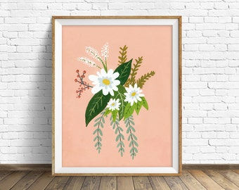 "floral art prints, flower wall art, folk art, instant download printable art, modern, contemporary, coral, prints - ""Folk Art Flowers No. 1"""