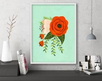 "floral art prints, flower wall art, folk art, instant download printable art, large art, large wall art, prints - ""Folk Art Flowers No. 2"""