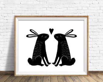"""rabbits, wall art, bunnies, drawing, instant download printable art, wall art prints, printable wall art, kids room - """"Some Bunny to Love"""""""