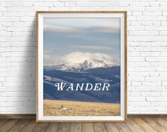 "landscape photography, large art, large wall art, instant download, instant download printable art, mountains, quote prints, art - ""Wander"""