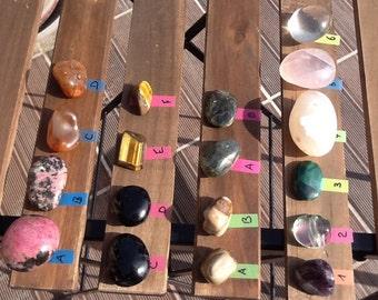 Magnificent Pebble Polis in Semi gemstones, Crystal, Opal, Tourmaline, Rhodonite, rose Quartz, Carnelian, eye Tiger