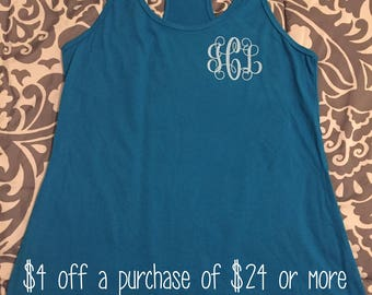 Tanks, monogrammed tanks, tank tops, bathing suit cover ups, birthday gifts, gifts, personalized gifts, women's clothing