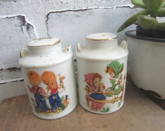 Kitschy Salt and Pepper Gingham Girl and Boy Vintage Cermaic Milk Cans