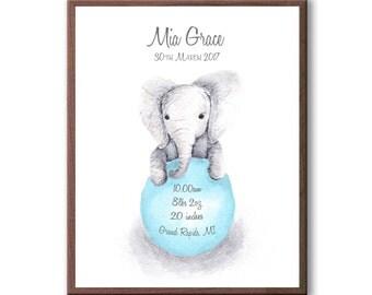 Baby Birth Stats, Custom Baby Stats, Personalized Baby Stat, Baby Gift, Nursery Art, Baby Elephant Print, EB1003
