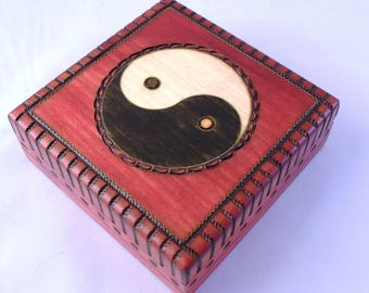 Handmade Wooden Box with Yin  Yang / Jewellery Box/ Trinket Box/ Storage Box