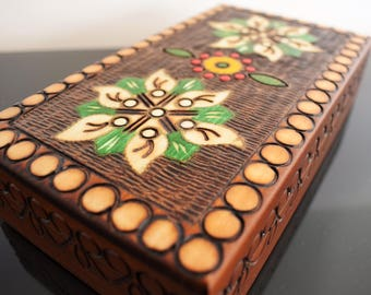 Handmade Wooden Jewellery Box/ Keepsake Box/ Box with flowers/ Trinket Box/ Treasure Box